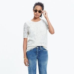 Madewell Cream Lace Refined Tee